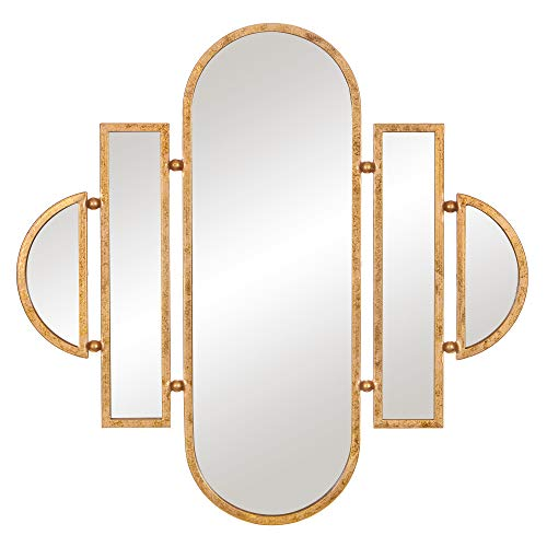 Patton Wall Decor 30x31 Antique Gold Geometric Oval Vanity Wall Mounted Mirrors, ()