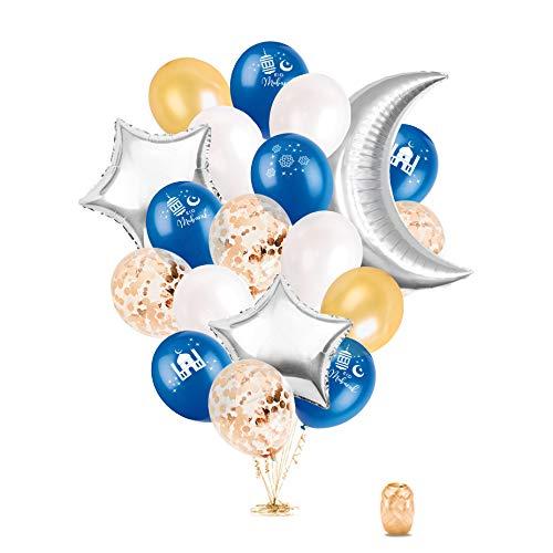 Eid Mubarak Happy Eid Balloons; Eid Al Adha Eid Al Fitr Ramadan Celebration Party Balloons for Children and Families - Blue and Silver