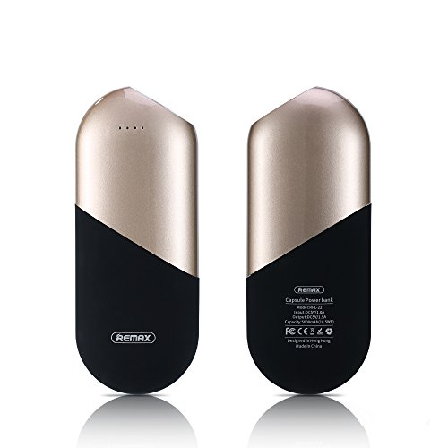 Remax - Capsule Series - Portable 5000mAh Power Bank / External Battery for iPhone, iPad, Samsung and More - Ultra-Compact, High-Speed, LED Display Remaining Power, Creativity, Stylish (Gold)