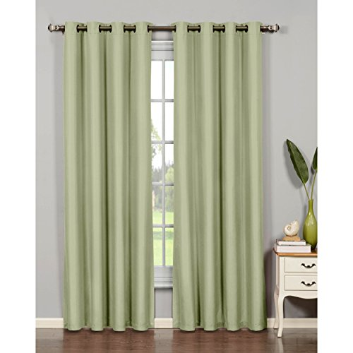 "Bella Luna Euphoria Microfiber Room Darkening Extra Wide 108 x 84"" Grommet Curtain Panel Pair, Sage"