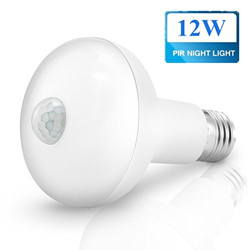 KINGSO Motion Light Bulb,E27 12W PIR Infrared Motion Detection Light Sensor PIR Bulb Lamp Auto Switch Stairs Night Lights Energy Saving for Security Decoration-12W Warm White