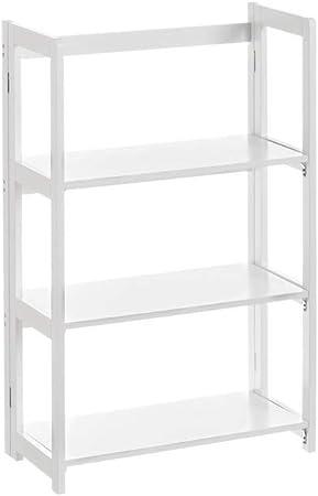 Estantería Plegable de 3 estantes de Madera MDF contemporánea Blanca, de 56x27x86 cm - LOLAhome: Amazon.es: Hogar