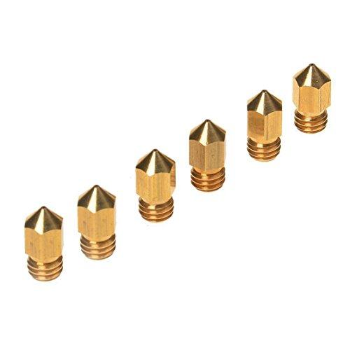 3D Printer Head(6PCS),6PCS 3D Printer 0.4mm Extruder Brass Nozzle Print Head for MK8 1.75mm ABS PLA Printer(0.4mm)