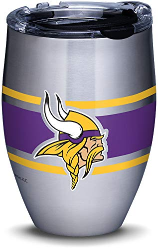 Tervis 1317698 NFL Minnesota Vikings Stripes Insulated Travel Tumbler with Lid 12oz - Stainless Steel Silver