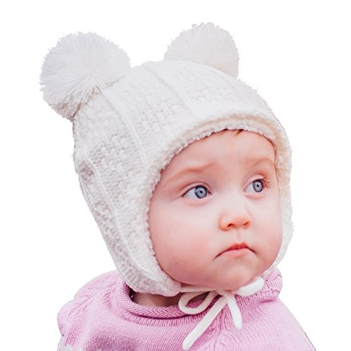 - JAN & JUL Baby Toddler Winter Earflap Beanie Hat (S: 3-9 Months, Cream Bear)