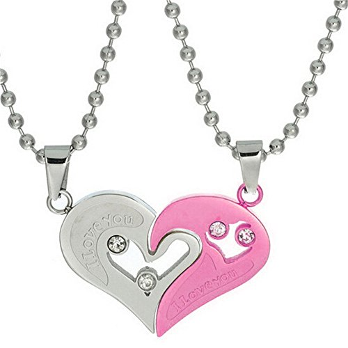 Uloveido Stainless Steel Mens Womens Couple Pendant Pairs Necklace Love Heart CZ Puzzle Matching Jewelry SN102-White & Pink