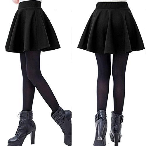 ECYC® Women's Stretch Waist Plain Flared Pleated Mini Skirt Basic Skater Skirt