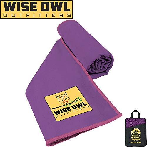 Wise Owl Outfitters Camping Towel - Ultra Soft Compact Quick Dry Microfiber Best Fitness Beach Hiking Yoga Travel Sports Backpacking & The Gym Fast Drying, Free Bonus Washcloth Hand Towel - XL Purple
