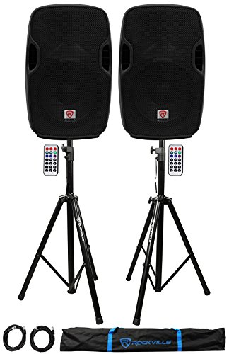 Package: (2) Rockville BPA10 10'' Active DJ/PA Speakers Totaling 800 Watt + Pair of Rockville RVSS2-XLR Heavy Duty Adjustable Pro PA Speaker Stands + (2) 20' XLR Cables + Carrying Case by Rockville