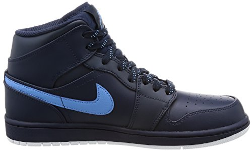 Blue White Jordan 1 Air Basket Scarpe Obsidian Mid Multicolore University da Uomo NIKE 67gxnn