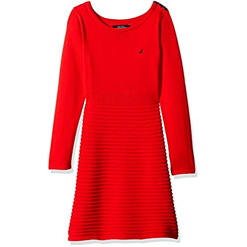 Nautica Little Girls Toddler Ottoman Stripe Sweater Dress With Shoulder Placket Red 3T