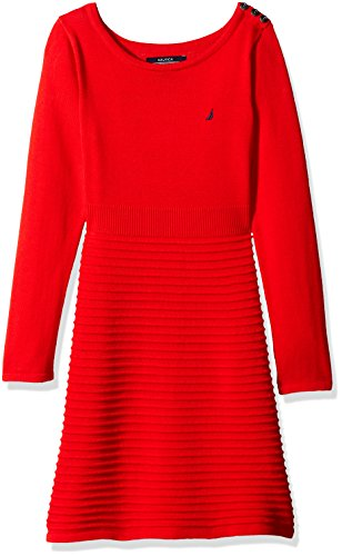 Nautica Little Girls' Toddler Ottoman Stripe Sweater Dress with Shoulder Placket, Red, 2T