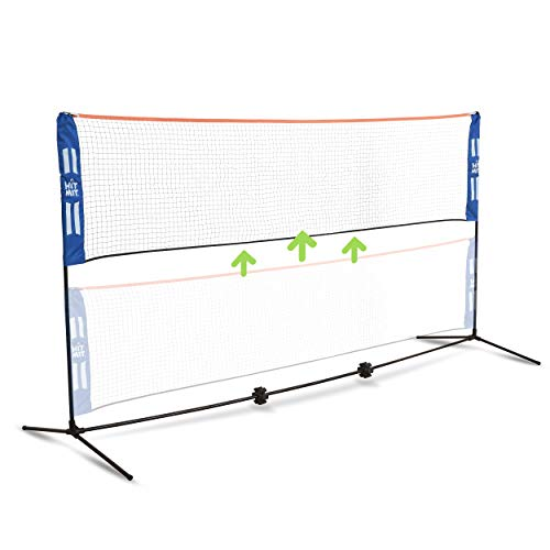 (Hit Mit Adjustable Height Portable Badminton Net Set - Competition Multi Sport Indoor or Outdoor Net for Playing Pickleball, Kids Volleyball, Soccer Tennis, Lawn Tennis - Easy and Fast Assembly )
