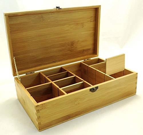 Cookbook People Multikeep Adjustable Tea Box 128 Tea Bag Storage Organizer Bamboo Latching Lid ()