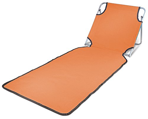 Ideas In Life Portable Beach Mat Lounge Folding Chair – Folds Flat For Travel Adjustable Reclining Back – Outdoor Lightweight For Kids And Adults (Orange) by Ideas In Life