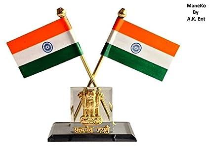 Maneko Indian Flag With Satyamev Jayate Symbol For Car Dashboard