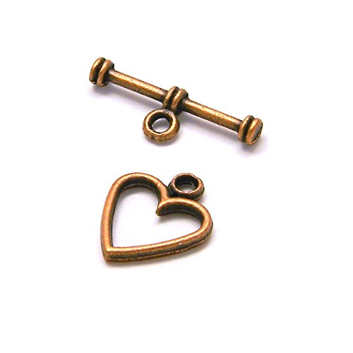 10 Antique Copper Heart Toggle Bar & Ring Jewelry Clasps Plated Over Pewter Base Metal
