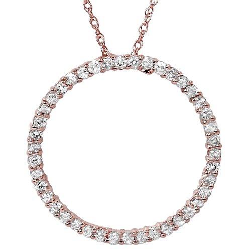 1ct Circle Diamond Pendant 14K Rose Gold