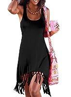 Eytino Women Summer Casual Plain Sleeveless Mini Tassle Tank Dress