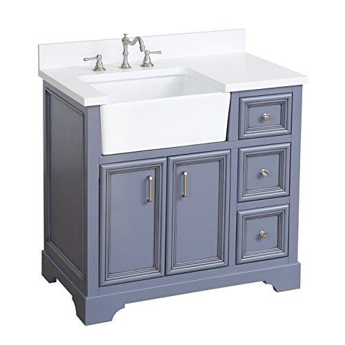 (Zelda 36-inch Bathroom Vanity (Quartz/Powder Gray): Includes a Quartz Countertop, Powder Gray Cabinet with Soft Close Doors & Drawers, and White Ceramic Farmhouse Apron Sink)