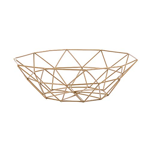 Iusun Storage Basket Geometric Fruit Vegetable Display Rack Home Living Room Decoration Desktop Multipurpose Bowl Kitchen Container Supplies -Ship from USA (Gold)
