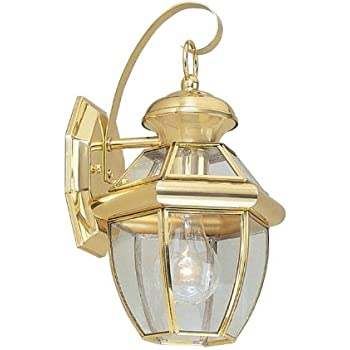 Livex Lighting 2051 02 Monterey 1 Light Outdoor Polished Brass Finish Solid Brass Wall Lantern With Clear Beveled Glass