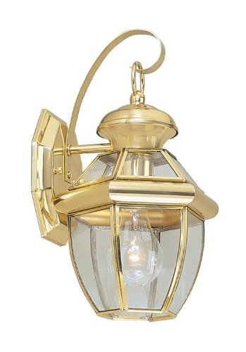 Livex Lighting 2051-02 Monterey 1 Light Outdoor Polished Brass Finish Solid Brass Wall Lantern  with Clear Beveled Glass from Livex Lighting