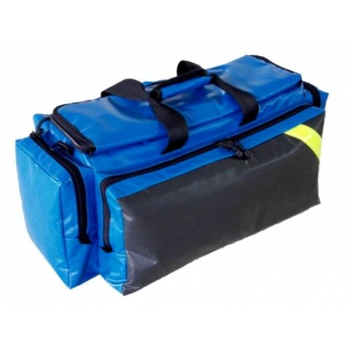 LINE2design Deluxe Oxygen Bag - EMS Medical Supply Ambulance Gear Bags with Yellow Reflective Trim & Shoulder Strap - Blue
