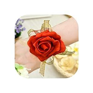little-kawaii boutonniere 10Pcs Elegant Wedding Bridesmaid Hand Wrist Corsage Decorative Flower Rose Silk Ribbon Bride Corsage,3 61