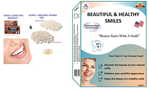 Maximum Strength Dental Loose Caps Repair Kit and Temporary Teeth Crowns Home Use (Anterior Front Teeth)