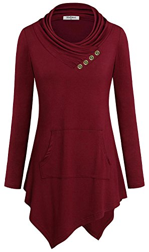 Hellmei Tunic Sweatshirts, Women Cute Outfit Cowl Neck Solid Color Swing Draped Ruffles A-Line Ruche Smocking Yoga Breathable Shift Long Sleeve Blouse Tops Red L
