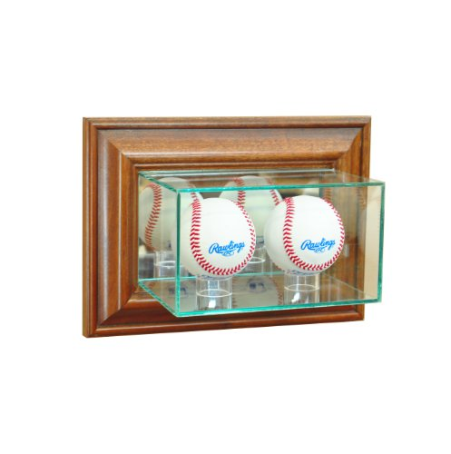(Perfect Cases MLB Wall Mounted Double Baseball Glass Display Case, Walnut)