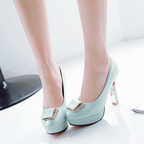 Mee Shoes Damen modern süß Geschlossen speziell Heel Metall-Dekoration Strass runder toe Plateau Pumps Blau