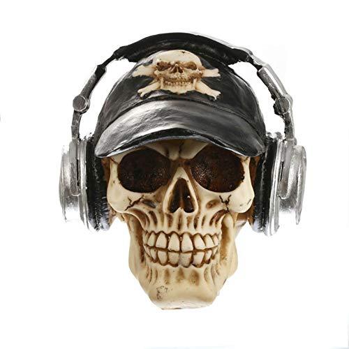 AAA&LIU Resin Craft Statues Skull with Headphone Skull Figurines Sculpture Home Decoration Accessories Halloween Decoration]()