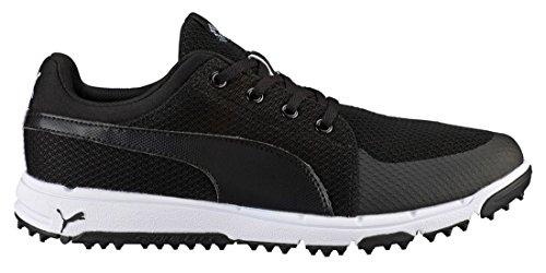 PUMA Men's Grip Sport Golf Shoe, Black/White, 9.5 Medium