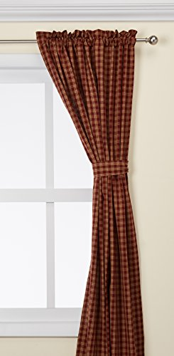 Park Designs Wine Sturbridge Lined Panel 72 x 84 - Curtain panels have a 1 1/2Header and a 2Rod pocket Shirr on conventional curtain rod. Curtain rod not included We recommend dry cleaning our lined panels - living-room-soft-furnishings, living-room, draperies-curtains-shades - 41A1omttDBL -