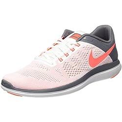 NIKE Women's Flex 2016 RN Running-Shoes, White/Bright Mango/Cool Grey, 7 B US