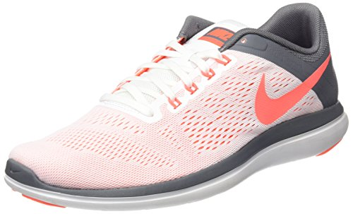 NIKE Women's Flex 2016 RN Running Shoe, White/Bright Mango/Cool Grey, 9 B US