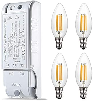 Zowam - Bombillas LED Regulables E14 con Interruptor, 4 W, 300 W de Potencia, luz Blanca cálida, 3000 K, Rosca Edison pequeña, Bombillas LED SES para candelabro, filamento Vintage, Ahorro de energía: Amazon.es: Electrónica