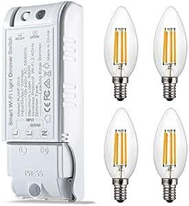 Zowam - Bombillas LED Regulables E14 con Interruptor, 4 W, 300 W ...