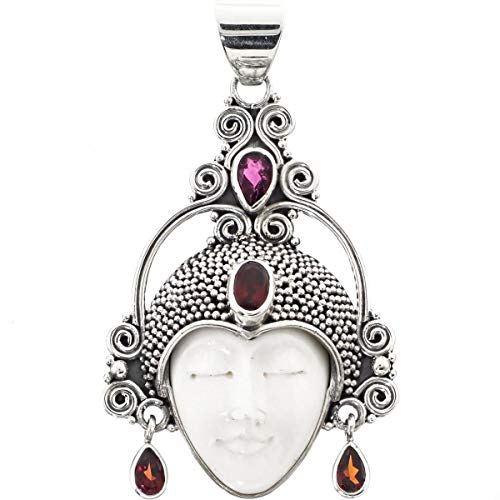 2'' Tourmaline RED Garnet Goddess Bison Bone 925 Sterling Silver Pendant YE-2277