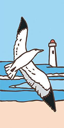 Earthtones Seagull on Light Blue Background 3