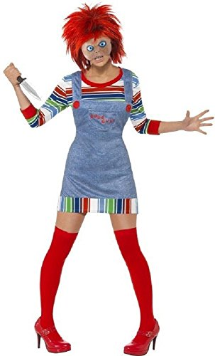 Fancy Me Women's Chucky Rag Doll Halloween Film Fancy Dres Costume with Wig Small (UK 8-10) Red ()