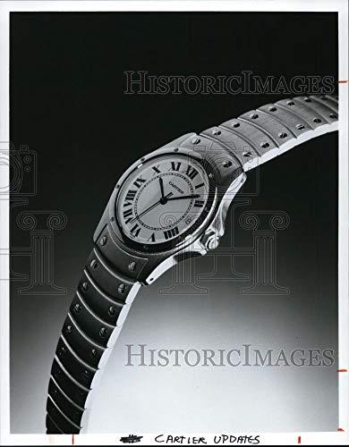 Santos Steel Watch - Historic Images - Vintage Press Photo Cartier's Round Steel Santos Watch - cvb20752