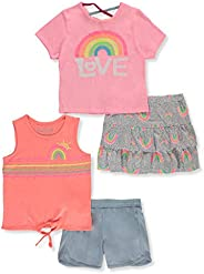 Freestyle Revolution Girls' Glitter Rainbow 4-Piece Shorts Set Ou