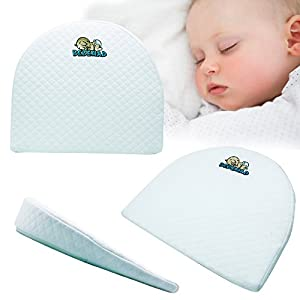 Universal Bassinet Wedge and Baby Sleep Positioner with Handcrafted Cotton Removable Cover | this memory foam pillow has 12 degree incline for Better Night's Sleep also used as Pregnancy Pillow Wedge by Bebemad