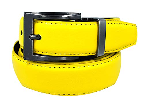 Men's Solid Leather Belts-#35A-Yellow Gold-32