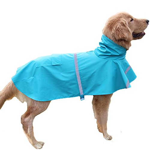 Genenic Large Dog Raincoat Leisure Pet Waterproof Clothes Lightweight Rain Jacket Poncho with Strip Reflective Lake Blue (XXL)