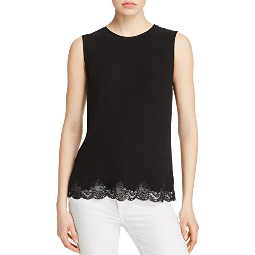 Theory Womens Alshvee Crepe Lace Trim Tank Top Black M by Theory