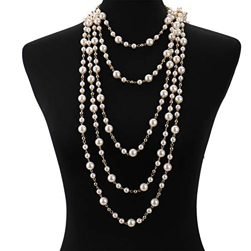 JETEHO Multilayer Strand Simulated Faux Pearl Statement Long Sweater Chain Necklace Jewelry Accessories for Women